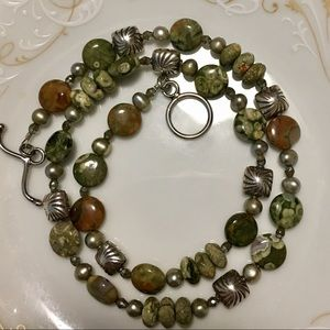 """Jewelry - 19"""" Green Stone and Silver Bead Necklace"""